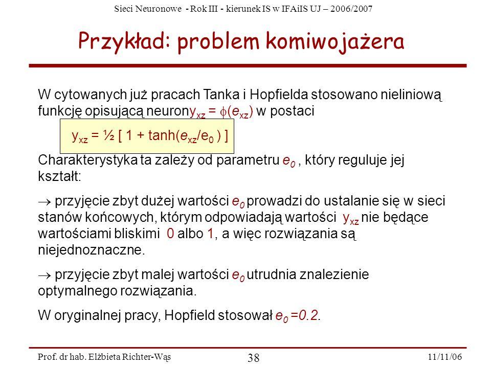 Sieci Neuronowe - Rok III - kierunek IS w IFAiIS UJ – 2006/2007 11/11/06 38 Prof. dr hab. Elżbieta Richter-Wąs Przykład: problem komiwojażera W cytowa