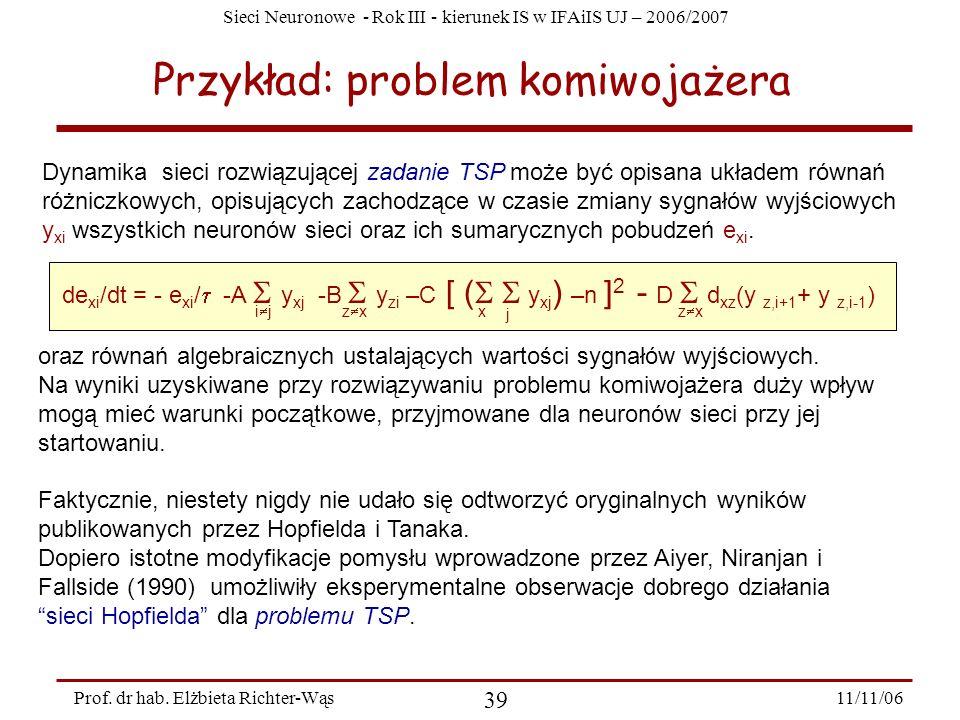 Sieci Neuronowe - Rok III - kierunek IS w IFAiIS UJ – 2006/2007 11/11/06 39 Prof. dr hab. Elżbieta Richter-Wąs Przykład: problem komiwojażera Dynamika