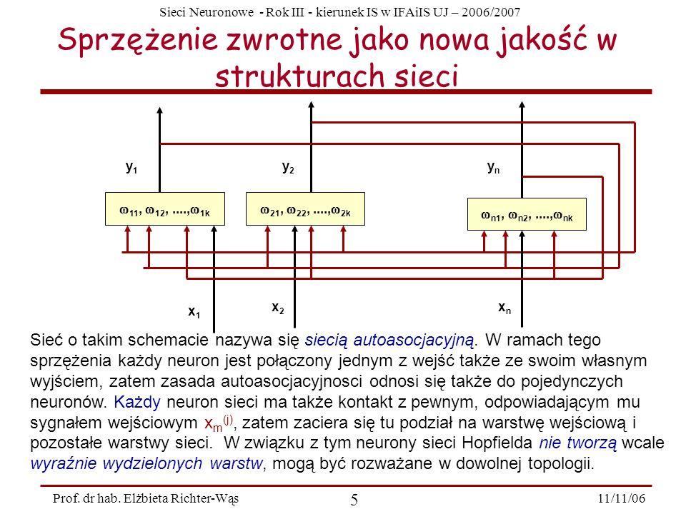 Sieci Neuronowe - Rok III - kierunek IS w IFAiIS UJ – 2006/2007 11/11/06 5 Prof. dr hab. Elżbieta Richter-Wąs Sprzężenie zwrotne jako nowa jakość w st