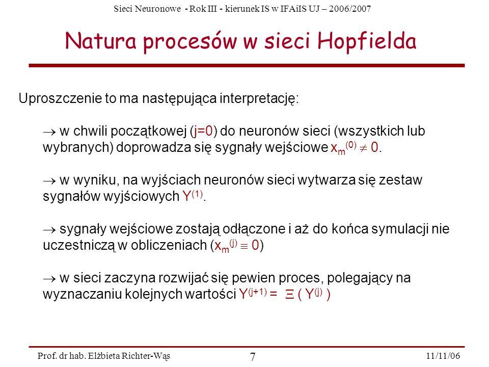 Sieci Neuronowe - Rok III - kierunek IS w IFAiIS UJ – 2006/2007 11/11/06 7 Prof. dr hab. Elżbieta Richter-Wąs Natura procesów w sieci Hopfielda Uprosz