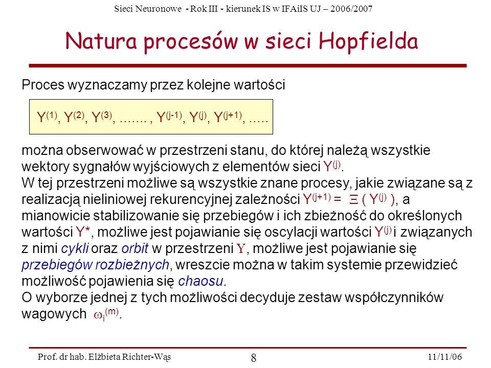 Sieci Neuronowe - Rok III - kierunek IS w IFAiIS UJ – 2006/2007 11/11/06 8 Prof. dr hab. Elżbieta Richter-Wąs Natura procesów w sieci Hopfielda Proces