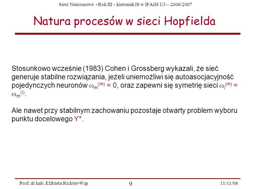 Sieci Neuronowe - Rok III - kierunek IS w IFAiIS UJ – 2006/2007 11/11/06 9 Prof. dr hab. Elżbieta Richter-Wąs Natura procesów w sieci Hopfielda Stosun