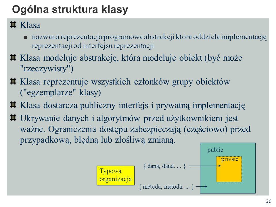 20 Ogólna struktura klasy Klasa nazwana reprezentacja programowa abstrakcji która oddziela implementację reprezentacji od interfejsu reprezentacji Kla