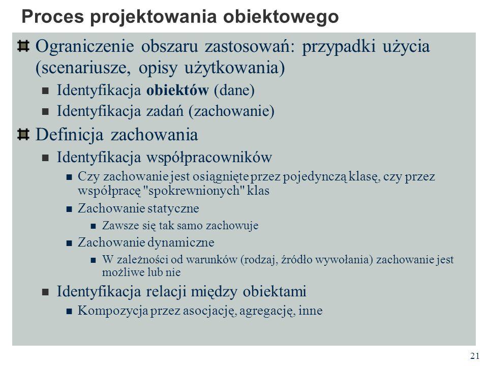 21 Proces projektowania obiektowego Ograniczenie obszaru zastosowań: przypadki użycia (scenariusze, opisy użytkowania) Identyfikacja obiektów (dane) I