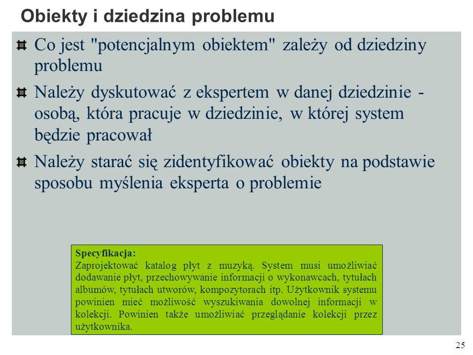 25 Obiekty i dziedzina problemu Co jest