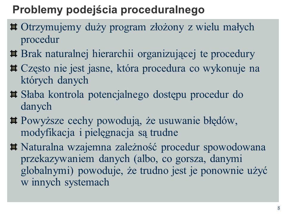 8 Problemy podejścia proceduralnego Otrzymujemy duży program złożony z wielu małych procedur Brak naturalnej hierarchii organizującej te procedury Czę