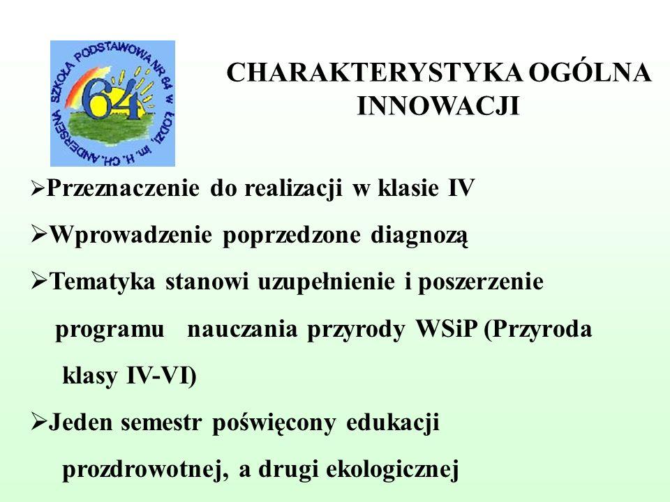 CHARAKTERYSTYKA OGÓLNA INNOWACJI Przeznaczenie do realizacji w klasie IV Wprowadzenie poprzedzone diagnozą Tematyka stanowi uzupełnienie i poszerzenie