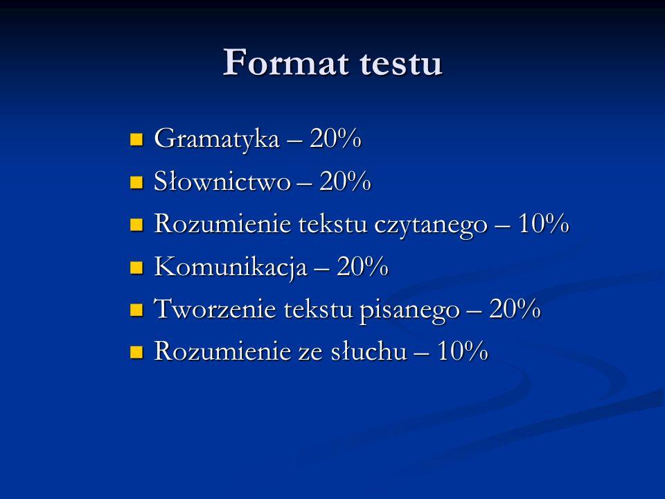 I. GRAMATYKA 2010 20% punktów 20% punktów11,9/20 2011 20% punktów 8,8/20