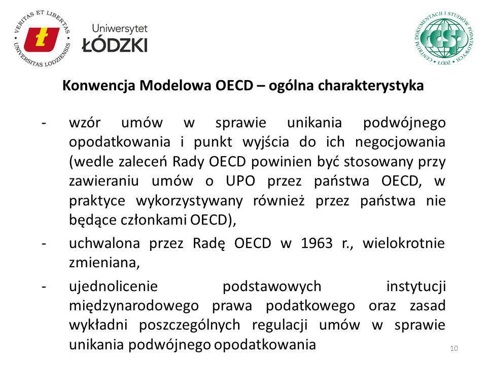 -wzór umów w sprawie unikania podwójnego opodatkowania i punkt wyjścia do ich negocjowania (wedle zaleceń Rady OECD powinien być stosowany przy zawier