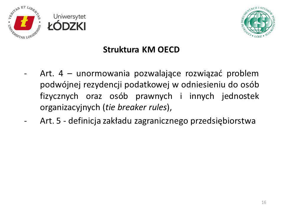 -Art. 4 – unormowania pozwalające rozwiązać problem podwójnej rezydencji podatkowej w odniesieniu do osób fizycznych oraz osób prawnych i innych jedno