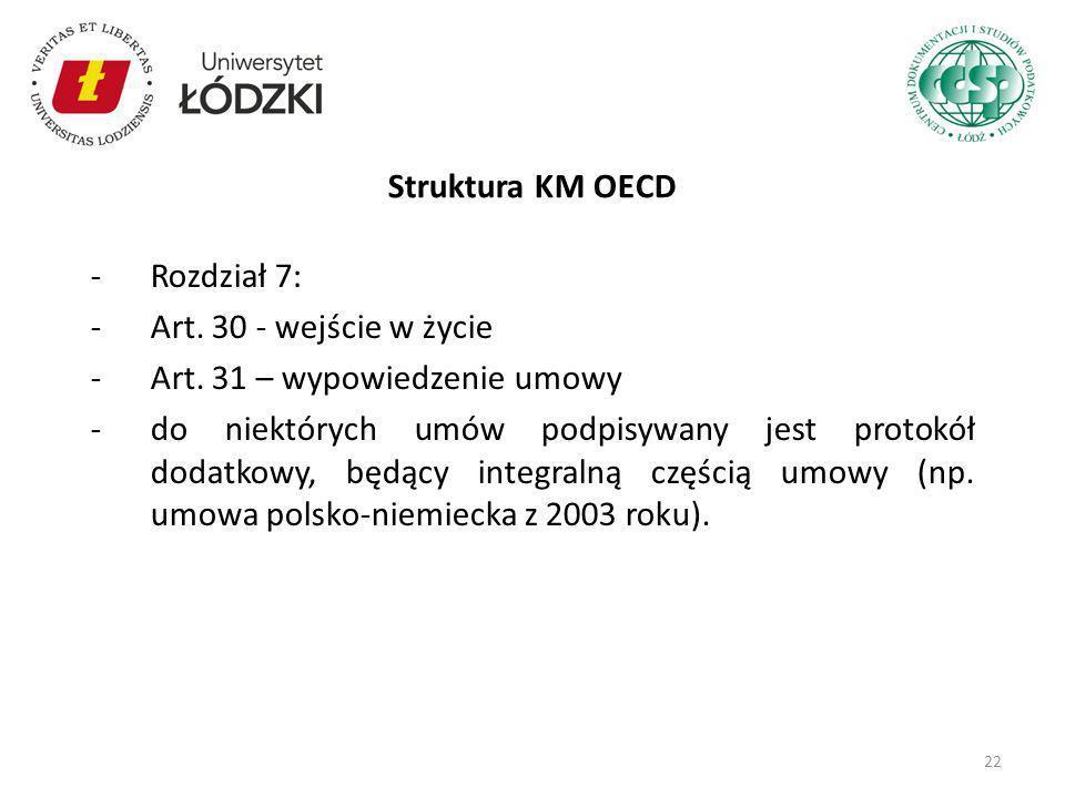 -Rozdział 7: -Art. 30 - wejście w życie -Art. 31 – wypowiedzenie umowy -do niektórych umów podpisywany jest protokół dodatkowy, będący integralną częś