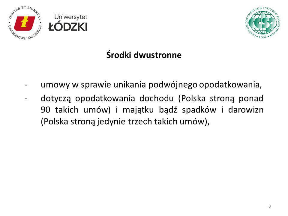 -umowy w sprawie unikania podwójnego opodatkowania, -dotyczą opodatkowania dochodu (Polska stroną ponad 90 takich umów) i majątku bądź spadków i darow