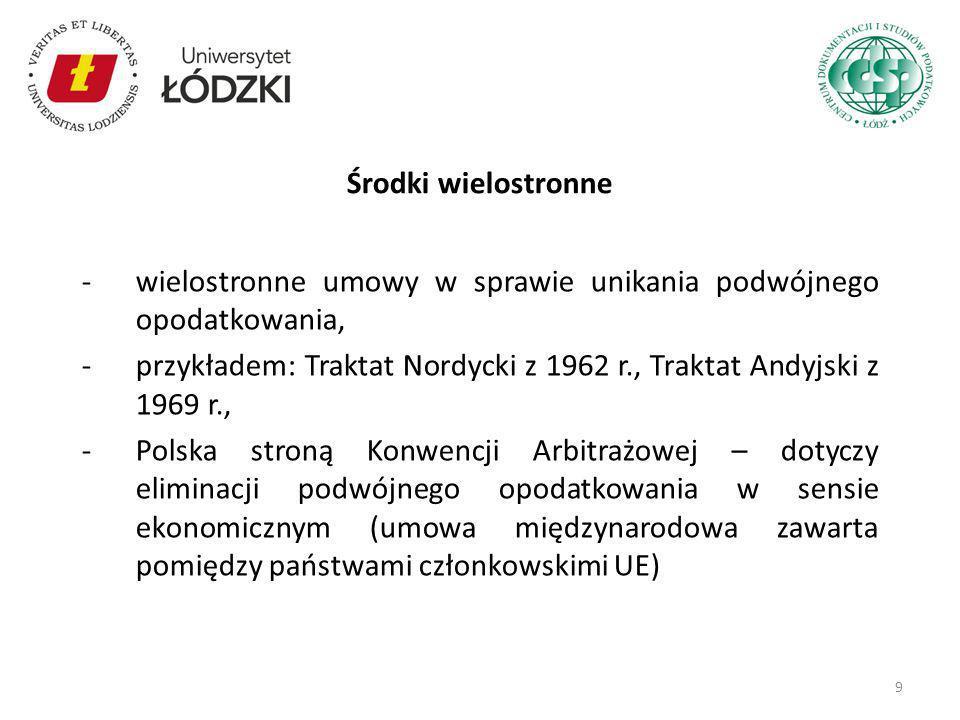 -wielostronne umowy w sprawie unikania podwójnego opodatkowania, -przykładem: Traktat Nordycki z 1962 r., Traktat Andyjski z 1969 r., -Polska stroną K