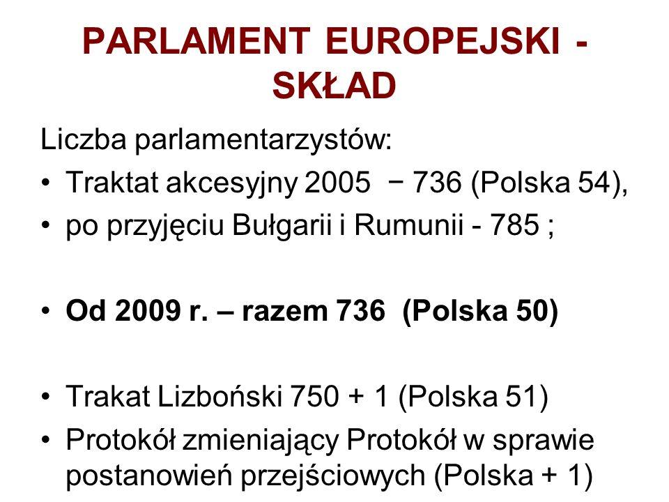 PARLAMENT EUROPEJSKI - SKŁAD Liczba parlamentarzystów: Traktat akcesyjny 2005 736 (Polska 54), po przyjęciu Bułgarii i Rumunii - 785 ; Od 2009 r.