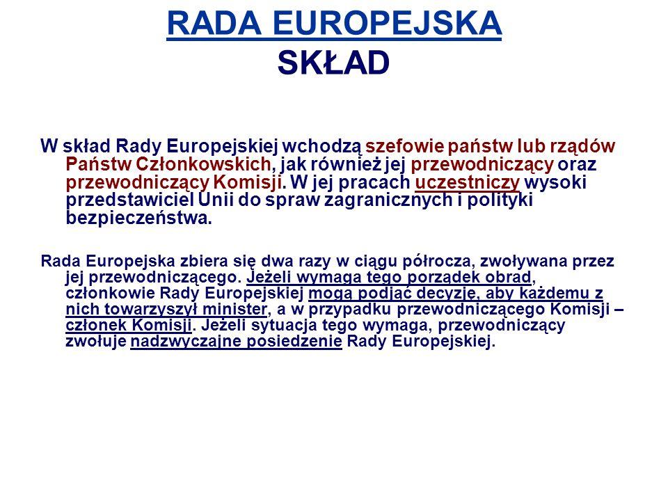RADA EUROPEJSKA SKŁAD W skład Rady Europejskiej wchodzą szefowie państw lub rządów Państw Członkowskich, jak również jej przewodniczący oraz przewodniczący Komisji.