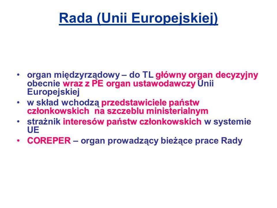 Rada - głosowanie Kwalifikowana większość głosów – system nicejski Jeżeli przyjęcie uchwały przez Radę Europejską i Radę wymaga większości kwalifikowanej, głosy członków ważone są następująco: –jeżeli akt na wniosek Komisji = 255 za oddanych przez większość członków –w innych przypadkach  = 255/ oddanych przez 2/3 członków Belgia 12, Bułgaria 10, Republika Czeska 12, Dania 7, Niemcy 29, Estonia 4, Grecja 12, Hiszpania 27, Francja 29, Irlandia 7, Włochy 29, Cypr 4, Łotwa 4, Litwa 7, Luksemburg 4, Węgry 12, Malta 3, Niderlandy 13, Austria 10, Polska 27, Portugalia 12, Rumunia 14, Słowenia 4, Słowacja 7, Finlandia 7, Szwecja 10, Zjednoczone Królestwo 29