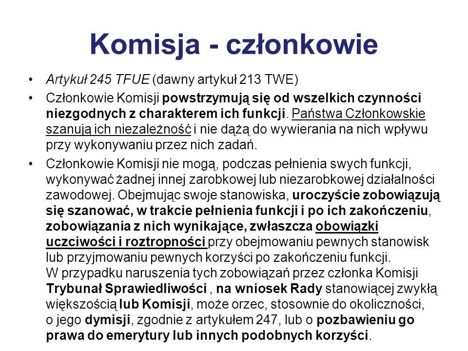 Komisja - członkowie Artykuł 245 TFUE (dawny artykuł 213 TWE) Członkowie Komisji powstrzymują się od wszelkich czynności niezgodnych z charakterem ich funkcji.