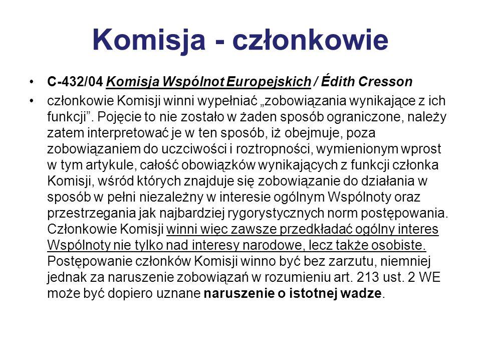 Komisja - członkowie C-432/04 Komisja Wspólnot Europejskich / Édith Cresson członkowie Komisji winni wypełniać zobowiązania wynikające z ich funkcji.