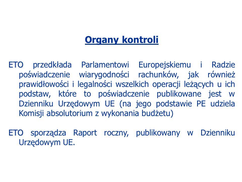 Organy kontroli ETO ETO przedkłada Parlamentowi Europejskiemu i Radzie poświadczenie wiarygodności rachunków, jak również prawidłowości i legalności wszelkich operacji leżących u ich podstaw, które to poświadczenie publikowane jest w Dzienniku Urzędowym UE (na jego podstawie PE udziela Komisji absolutorium z wykonania budżetu) ETO ETO sporządza Raport roczny, publikowany w Dzienniku Urzędowym UE.