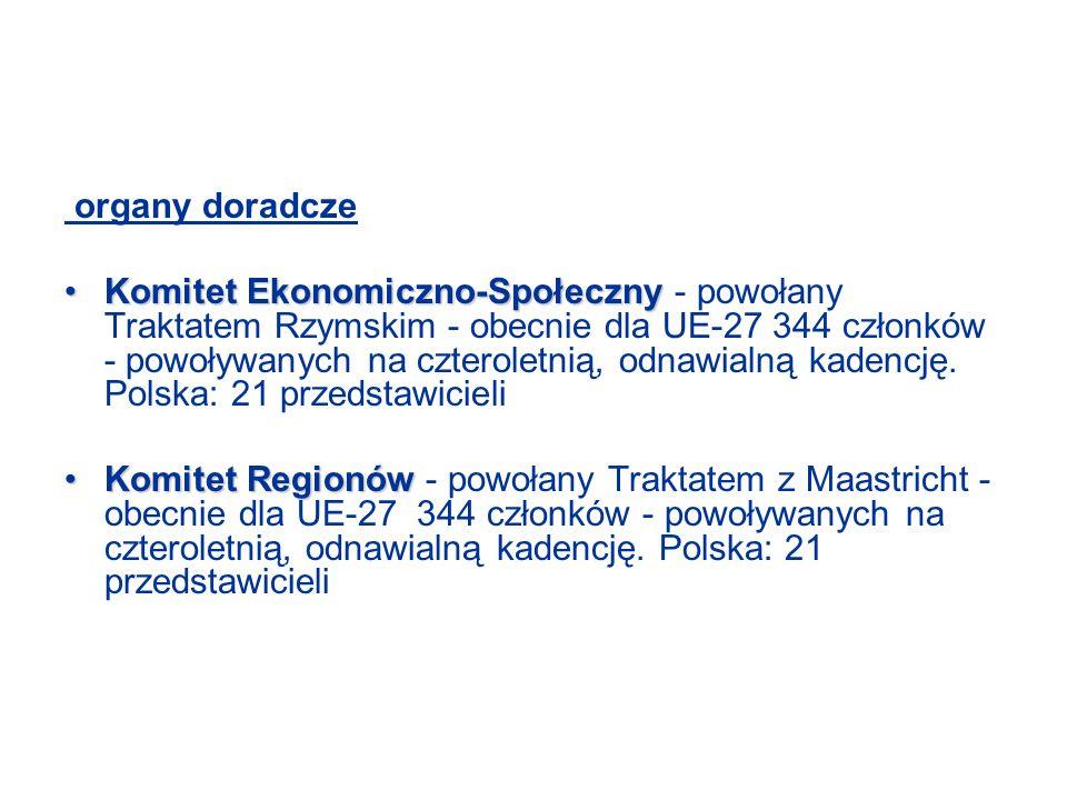 organy doradcze Komitet Ekonomiczno-SpołecznyKomitet Ekonomiczno-Społeczny - powołany Traktatem Rzymskim - obecnie dla UE-27 344 członków - powoływanych na czteroletnią, odnawialną kadencję.