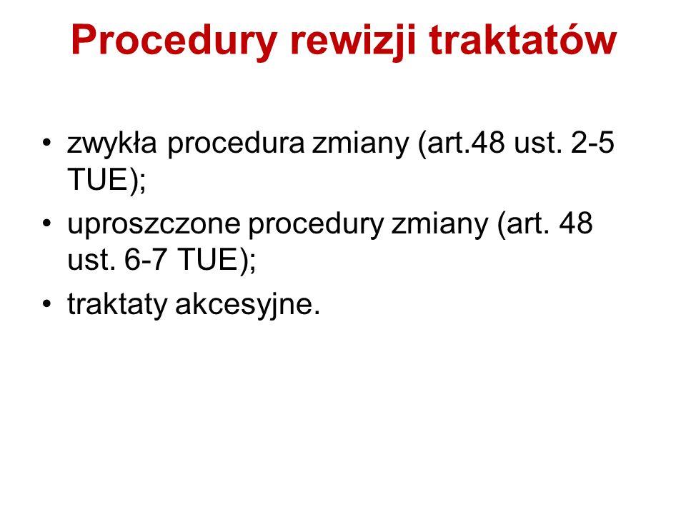 Zwykła procedura rewizyjna Inicjatywa państwo czł, Komisja, PE; Rada notyfikuje propozycję RE i parlamentom krajowym; po zasięgnięciu opinii KE, PE i EBC (w zakresie jego kompetencji) stanowisko RE (QMV); Przewodniczący RE zwołuje Konwent (przedstawiciele – Konwent przyjmuje zalecenia dla Konferencji Międzyrządowej; RE (zwykła większość) – decyzja o niezwoływaniu Konferencji Międzyrządowej LUB przewodniczący RE zwołuje Konferencję Międzyrządową;