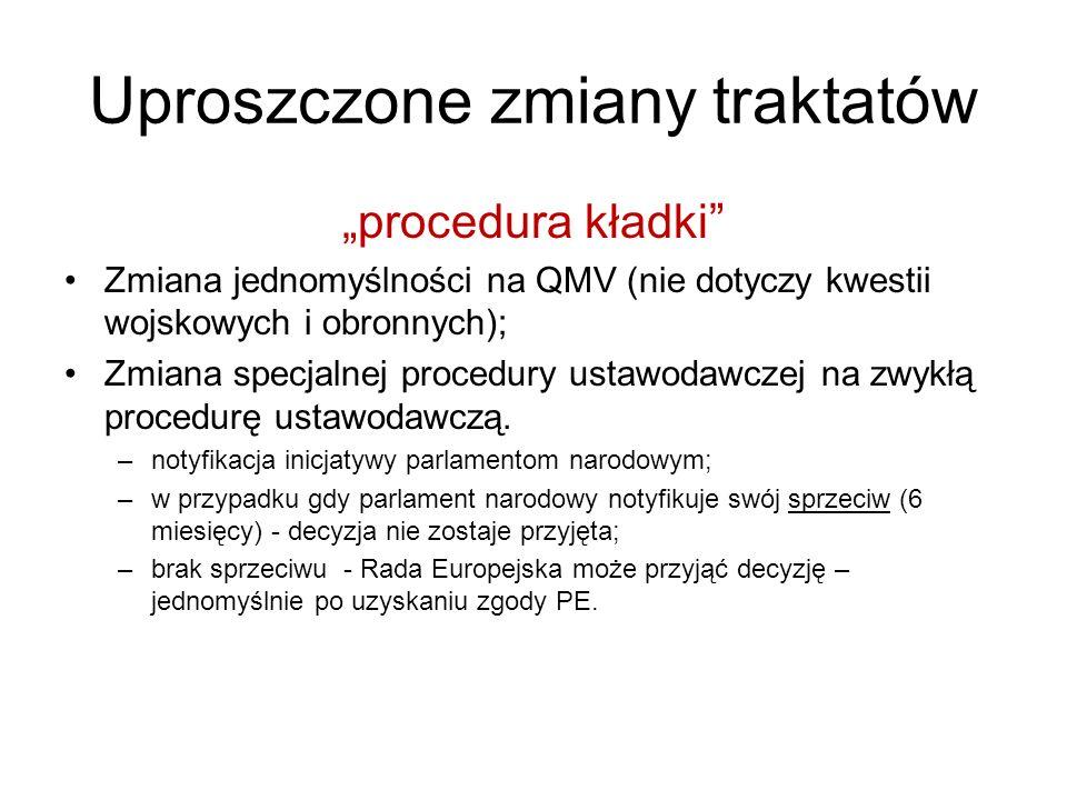 Uproszczone zmiany traktatów procedura kładki Zmiana jednomyślności na QMV (nie dotyczy kwestii wojskowych i obronnych); Zmiana specjalnej procedury ustawodawczej na zwykłą procedurę ustawodawczą.
