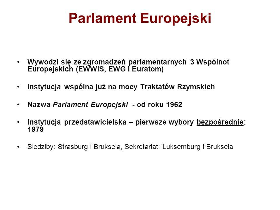 Parlament Europejski Wywodzi się ze zgromadzeń parlamentarnych 3 Wspólnot Europejskich (EWWiS, EWG i Euratom) Instytucja wspólna już na mocy Traktatów Rzymskich Nazwa Parlament Europejski - od roku 1962 Instytucja przedstawicielska – pierwsze wybory bezpośrednie: 1979 Siedziby: Strasburg i Bruksela, Sekretariat: Luksemburg i Bruksela
