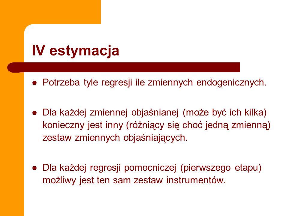 IV w STATA Logika składni w STATA – ivregress y (x1 x2 x3= z1 z2 z3 z4) x4 x5 x6 Przeprowadzamy regresję, w której – y jest zmienną objaśnianą – x1, x2, x3 jest są zmiennymi endogenicznymi (instrumentowanymi) – z1, z2, z3 są zmiennymi egzogenicznymi (instrumentami) – x3, x4 x5 są zmiennymi egzogenicznymi (nieinstrumentowanymi) MOŻNA RĘCZNIE, MOŻNA AUTOMATEM