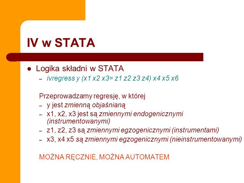 IV w STATA Występuje w wersji xtivreg Ma różnie opcje do zabawy: 2sls, liml, gmm Ma także możliwość sprawozdawania różnych etapów estymacji – estat firststage – estat overid Testowanie ograniczeń nadidentyfikujących (overidentifying restrictions) – overid (dla uproszczonego testu Sargana) – overid, all (wszystkie standardowe statystyki na OIR)