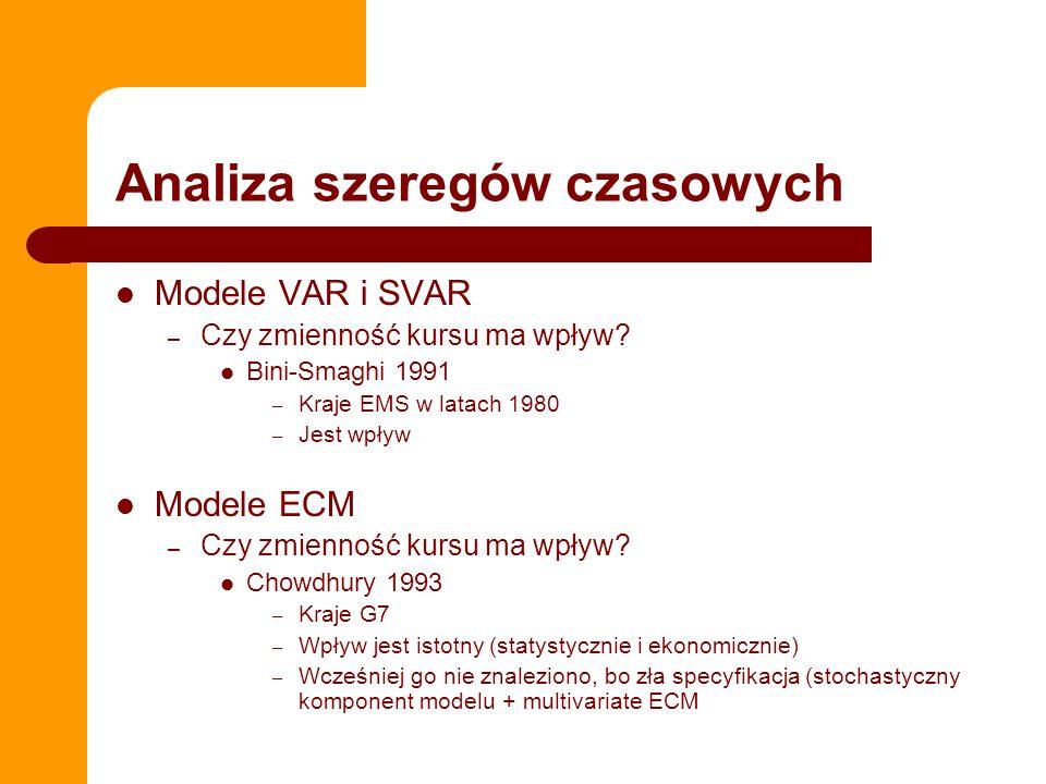 Analiza szeregów czasowych Modele VAR i SVAR – Czy zmienność kursu ma wpływ.