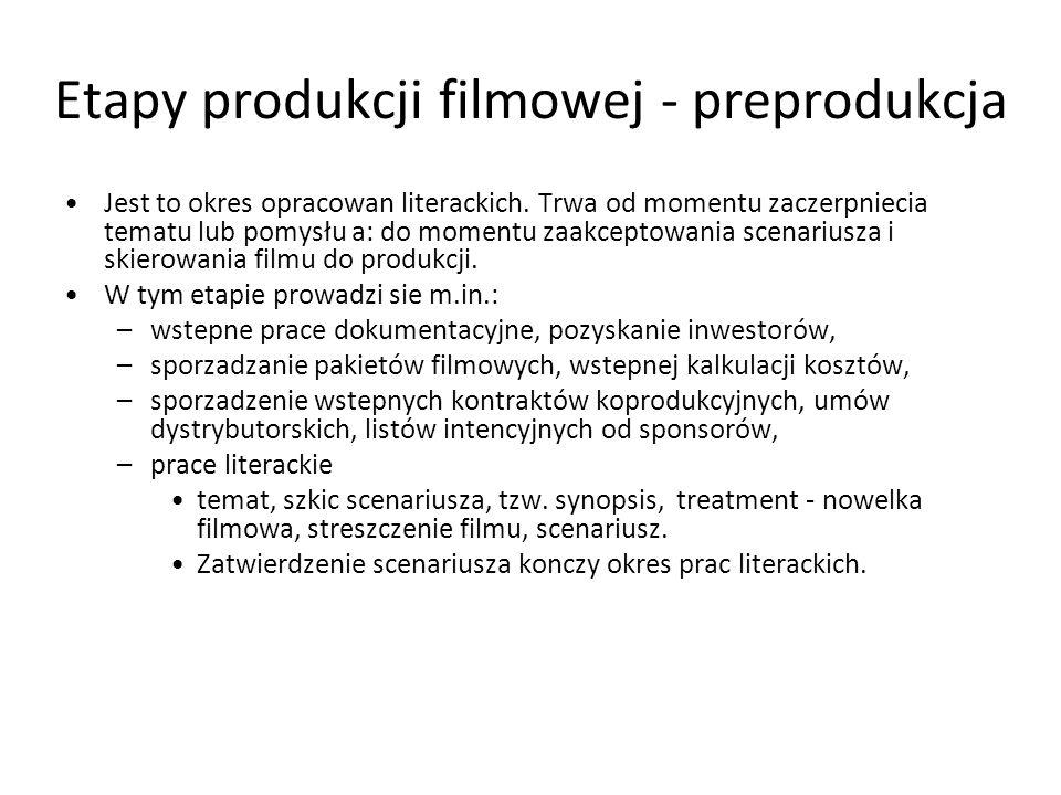 Etapy produkcji filmowej - preprodukcja By skierować film do produkcji, trzeba spełnić następujące warunki: –tytuł filmu, –nazwiska realizatorów, –okreslenie edycji (np.