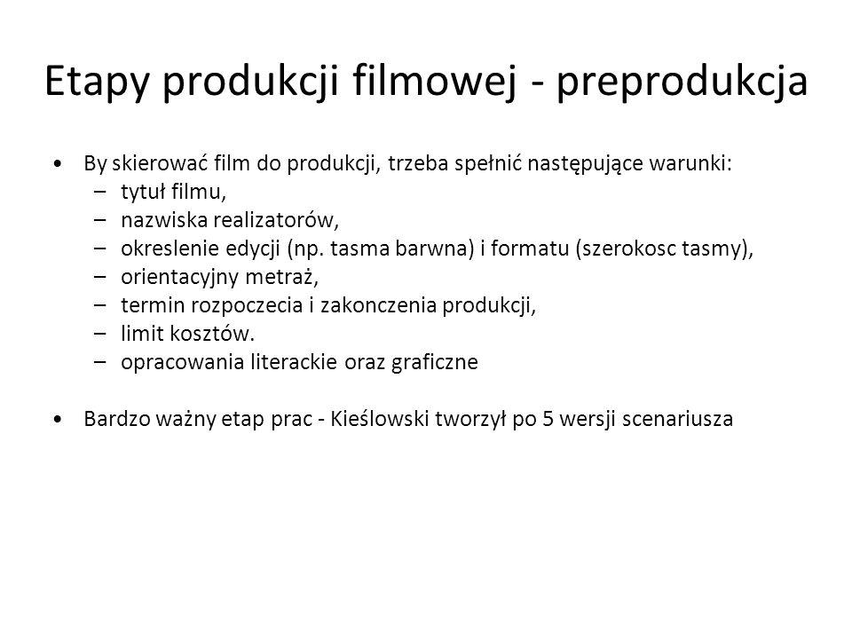 Etapy produkcji filmowej - produkcja Etap produkcji dzieli sie na dwa okresy: –Okres prac przygotowawczych od momentu skierowania filmu do produkcji do pierwszego dnia zdjeciowego (pierwszy klaps), –Okres zdjeciowy rozpoczyna sie pierwszego dnia zdjeciowego, a konczy ostatnim dniem zdjeciowym.