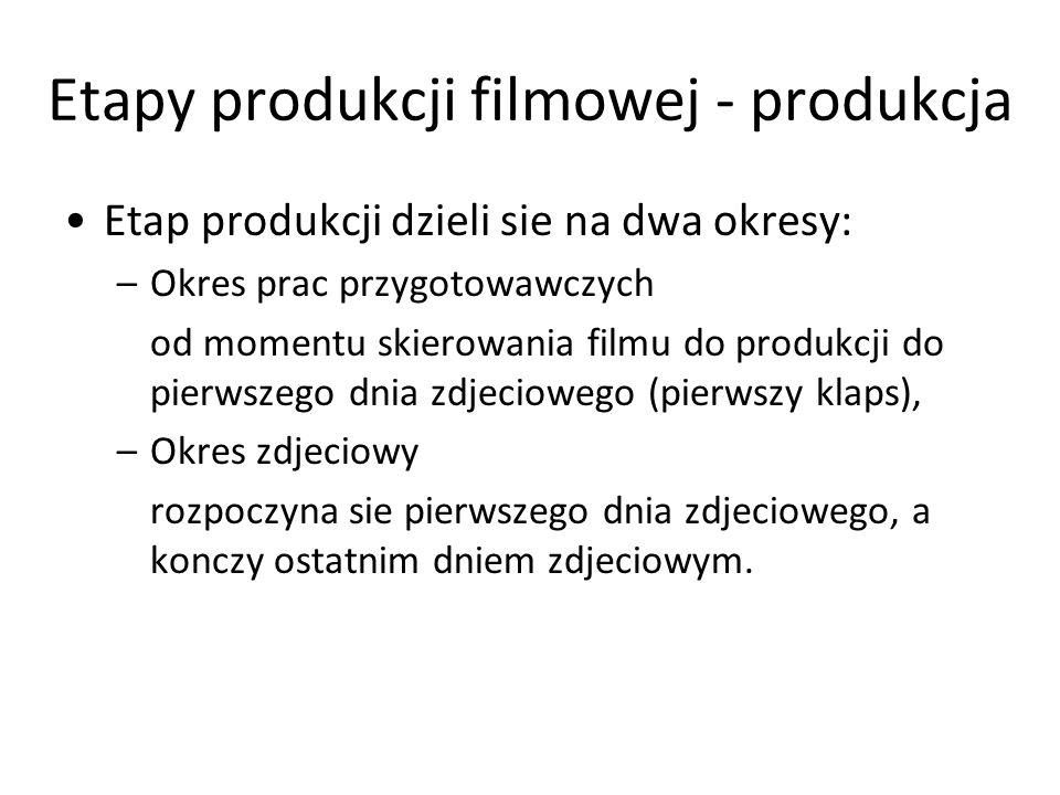 Etapy produkcji filmowej - produkcja Okres przygotowawczy –ustalenie składu grupy zdjeciowej (nie wszyscy członkowie ekipy sa potrzebni w trakcie całej produkcji filmu) –dokumentacja plenerowa, wybór obiektów zdjeciowych, –opracowanie scenopisu i dialogów –wybór i angażowanie aktorów (uzgodnic terminy aktorskie oraz uwzglednic komplikacje finansowe zwiazane ze zwrotem kosztów zastepstwa w teatrze lub odwołania spektaklu) –opracowanie projektów dekoracji, rekwizytów, kostiumów grupa zdjeciowa na podstawie scenopisu przygotowuje dokumentacje plenerowa, projekty kostiumów i dekoracji –przygotowanie dokumentacji produkcyjnej (zlecenia na usługi), –wybór, gromadzenie lub wykonanie srodków technicznych, produkcyjnych I inscenizacyjnych,