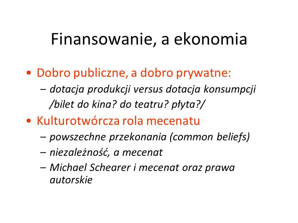 Finansowanie, a ekonomia Dobro publiczne, a dobro prywatne: –dotacja produkcji versus dotacja konsumpcji /bilet do kina.