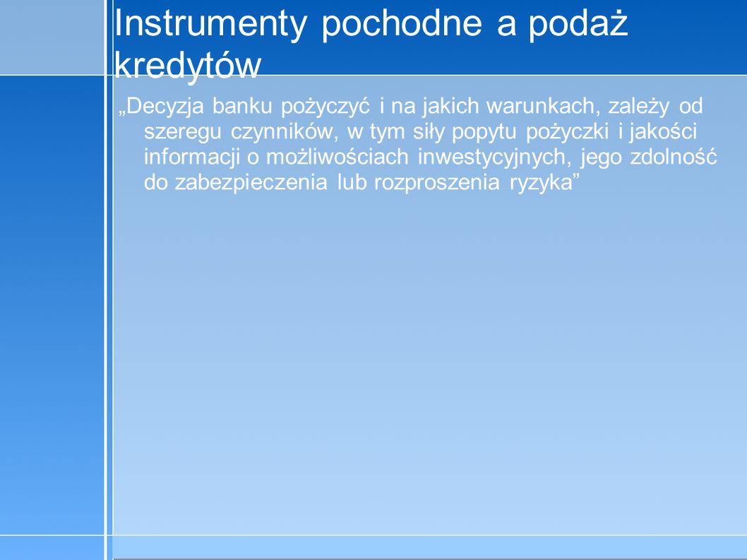 09-5-31 C:\praca\Polski Koncern Warzywny.odppage 12 Instrumenty pochodne a podaż kredytów Decyzja banku pożyczyć i na jakich warunkach, zależy od szer