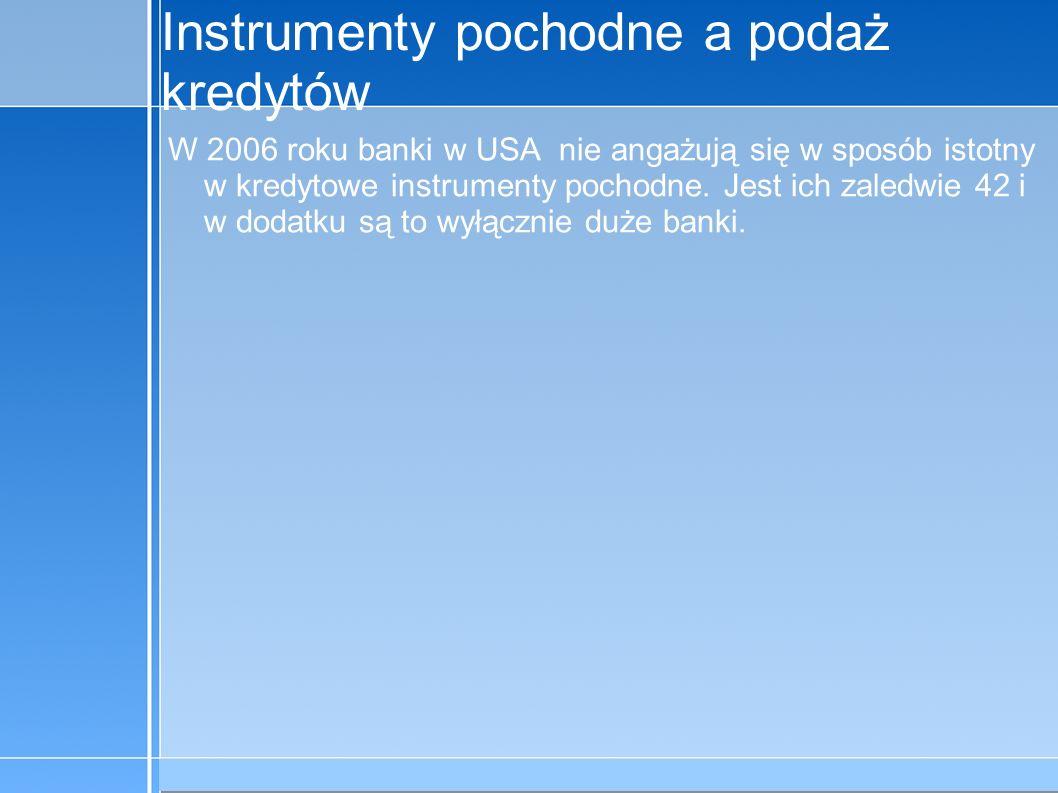 09-5-31 C:\praca\Polski Koncern Warzywny.odppage 14 Instrumenty pochodne a podaż kredytów W 2006 roku banki w USA nie angażują się w sposób istotny w