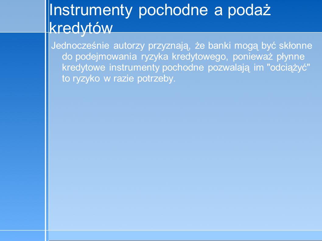 09-5-31 C:\praca\Polski Koncern Warzywny.odppage 15 Instrumenty pochodne a podaż kredytów Jednocześnie autorzy przyznają, że banki mogą być skłonne do