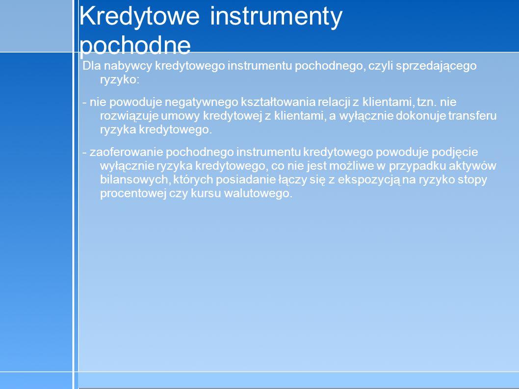 09-5-31 C:\praca\Polski Koncern Warzywny.odppage 6 Kredytowe instrumenty pochodne Korzyści dla sprzedającego, czyli nabywającego ryzyko: - wynagrodzenie, - jeśli oferujący zabezpieczenie jest podmiotem niebankowym, to derywaty kredytowe mogą być dla niego jedynym sposobem podjęcia ryzyka należności kredytowych.