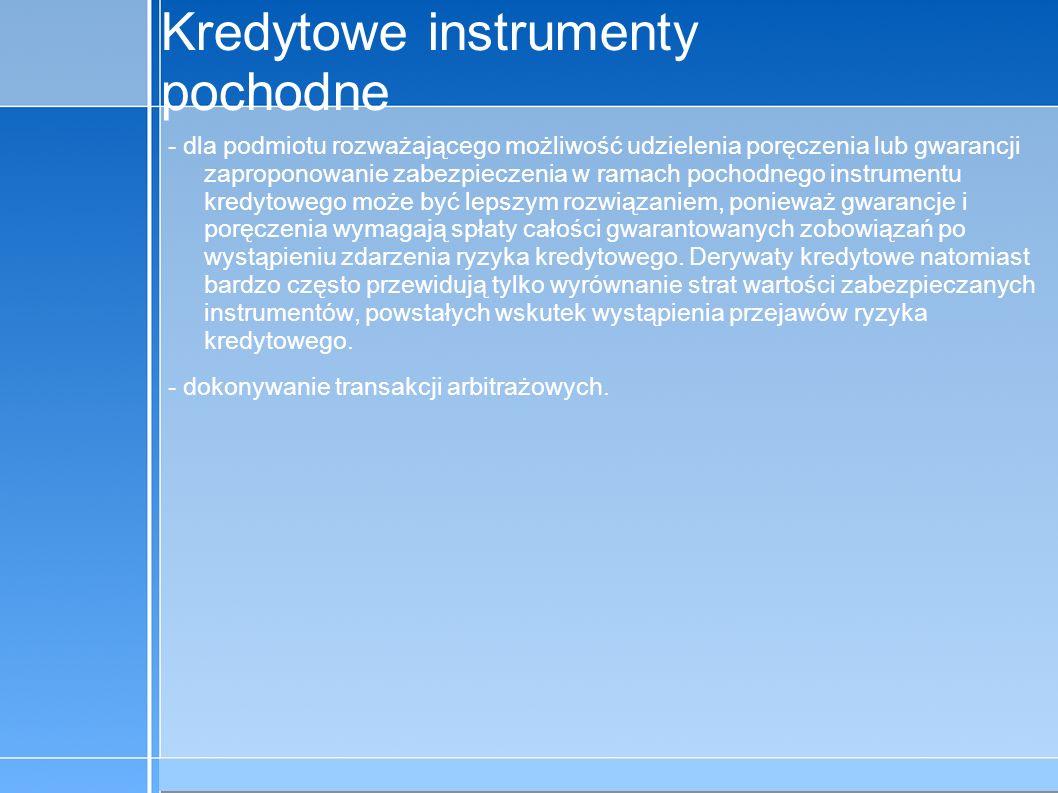 09-5-31 C:\praca\Polski Koncern Warzywny.odppage 8 Kredytowe instrumenty pochodne Kontrowersje - problem asymetrii informacji i wynikające stąd konsekwencje dla wyboru poziomu zarządzania ryzykiem kredytowym; - potencjalne oddziaływanie pochodnych instrumentów kredytowych na sytuację banków; - rozmiar i charakter zagrożeń innymi rodzajami ryzyka niż ryzyko kredytowe.