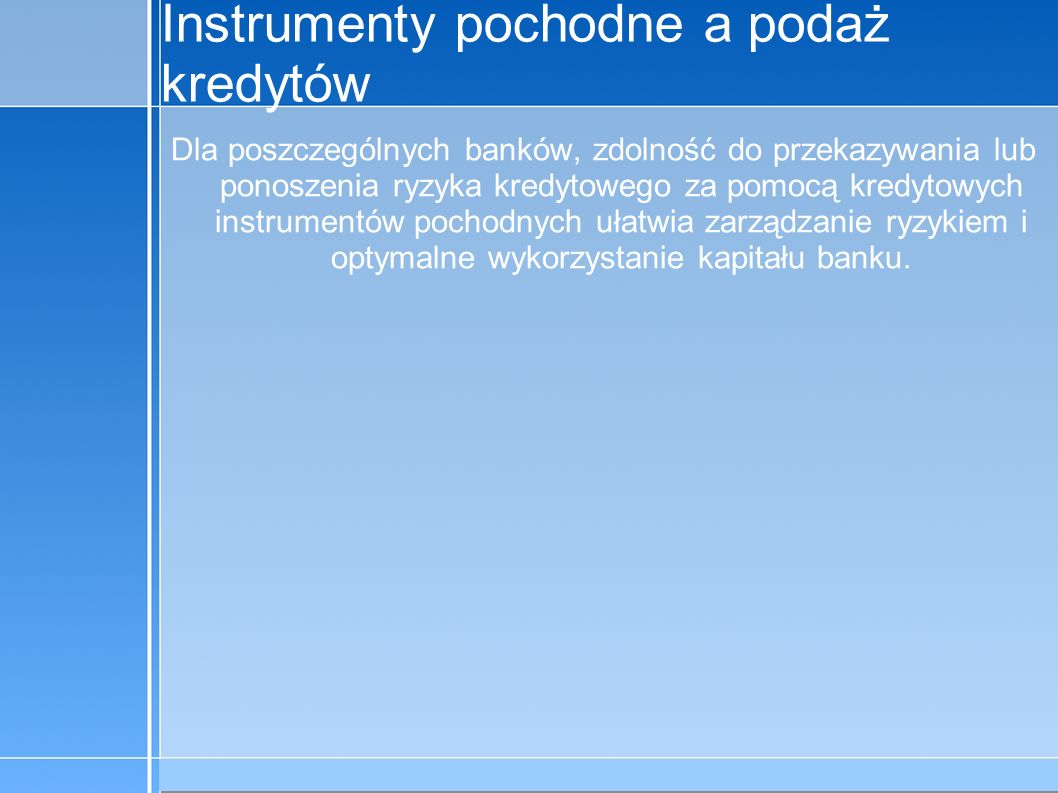 09-5-31 C:\praca\Polski Koncern Warzywny.odppage 9 Instrumenty pochodne a podaż kredytów Dla poszczególnych banków, zdolność do przekazywania lub pono