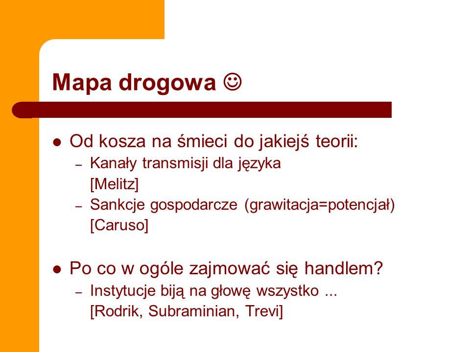 Mapa drogowa Od kosza na śmieci do jakiejś teorii: – Kanały transmisji dla języka [Melitz] – Sankcje gospodarcze (grawitacja=potencjał) [Caruso] Po co