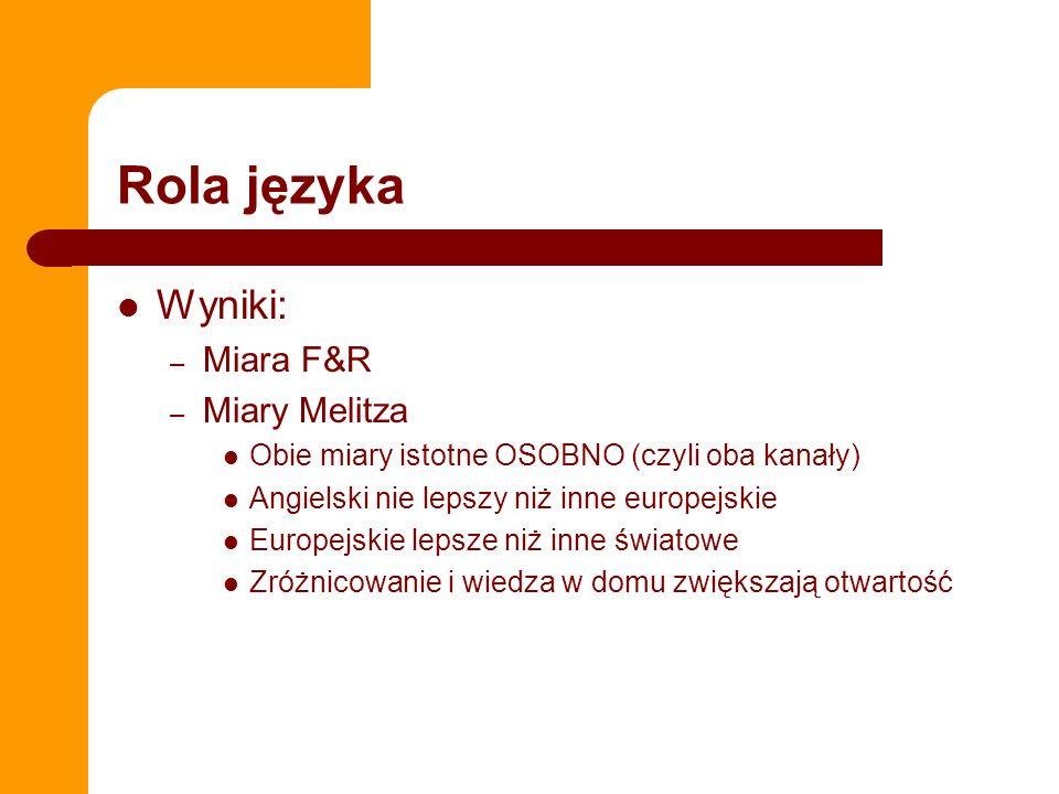 Rola języka Wyniki: – Miara F&R – Miary Melitza Obie miary istotne OSOBNO (czyli oba kanały) Angielski nie lepszy niż inne europejskie Europejskie lep