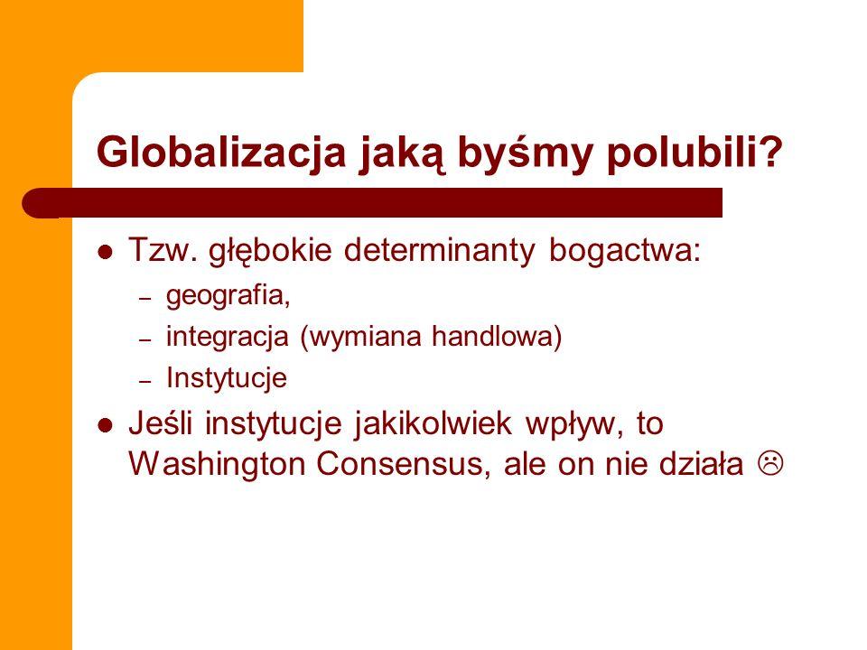 Globalizacja jaką byśmy polubili? Tzw. głębokie determinanty bogactwa: – geografia, – integracja (wymiana handlowa) – Instytucje Jeśli instytucje jaki