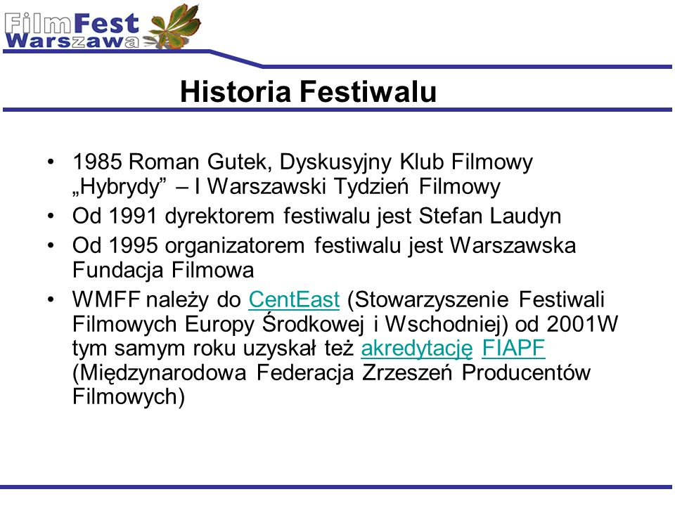 Sections New Films New Directors International Competition of first and second feature films; Regional Competition for feature length films (fiction and documentary) from Central and Eastern Europe (main production country: Albania, Armenia, Azerbaijan, Belarus, Bosnia and Herzegovina, Bulgaria, Croatia, Czech Republic, Estonia, Finland, Georgia, Hungary, Latvia, Lithuania, Macedonia, Moldova, Poland, Romania, Russian Federation, Serbia and Montenegro, Slovakia, Slovenia, Ukraine).
