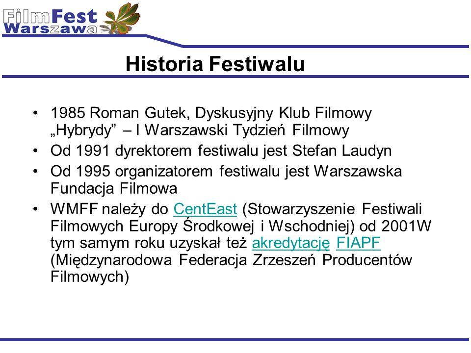Historia Festiwalu 1985 Roman Gutek, Dyskusyjny Klub Filmowy Hybrydy – I Warszawski Tydzień Filmowy Od 1991 dyrektorem festiwalu jest Stefan Laudyn Od