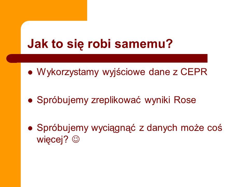 Jak to się robi samemu? Wykorzystamy wyjściowe dane z CEPR Spróbujemy zreplikować wyniki Rose Spróbujemy wyciągnąć z danych może coś więcej?