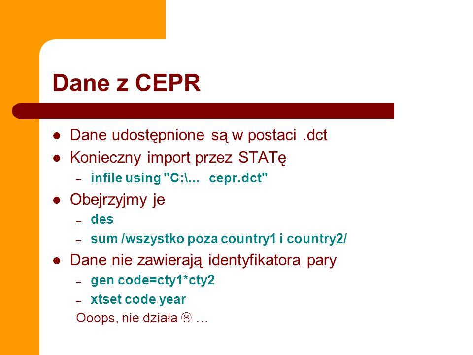 Dane z CEPR Dane udostępnione są w postaci.dct Konieczny import przez STATę – infile using