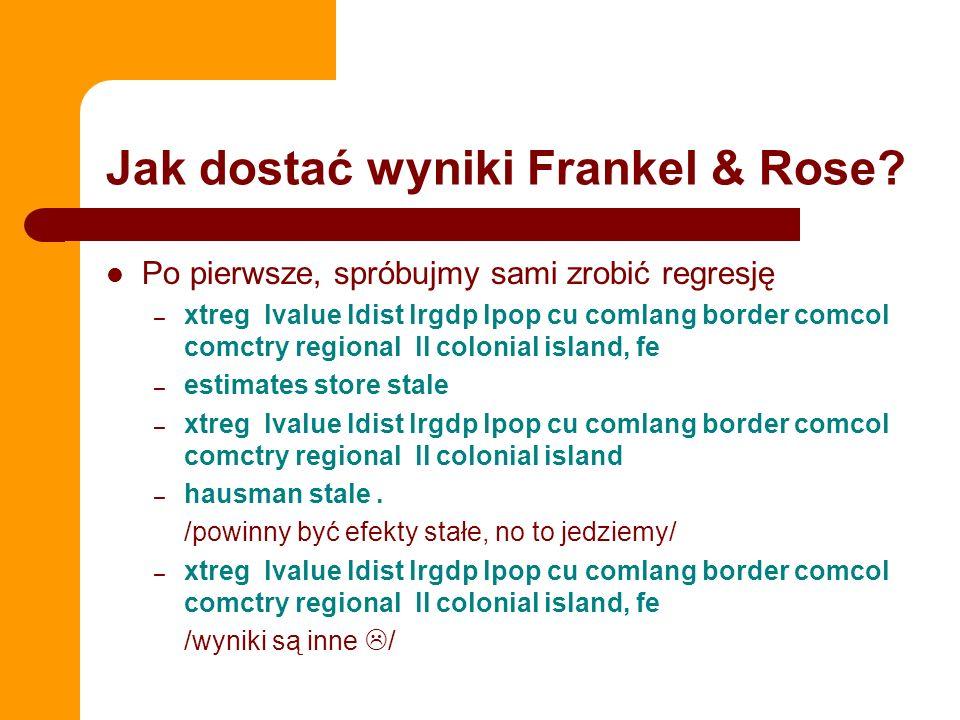 Jak dostać wyniki Frankel & Rose? Po pierwsze, spróbujmy sami zrobić regresję – xtreg lvalue ldist lrgdp lpop cu comlang border comcol comctry regiona