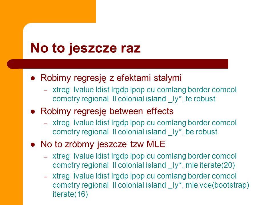 No to jeszcze raz Robimy regresję z efektami stałymi – xtreg lvalue ldist lrgdp lpop cu comlang border comcol comctry regional ll colonial island _Iy*