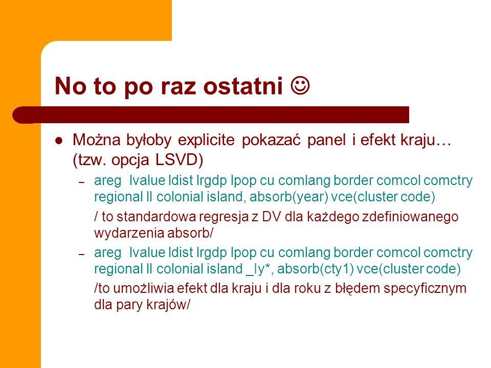 No to po raz ostatni Można byłoby explicite pokazać panel i efekt kraju… (tzw. opcja LSVD) – areg lvalue ldist lrgdp lpop cu comlang border comcol com